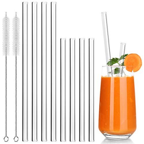 Cannucce Vetro - 8 pezzi Ecologico cannucce riutilizzabili vetro Per Frullati, Cocktail e Bevande Calde - 4 Lungo, 4 Corto e 2 Spazzola per la Pulizia
