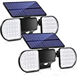 Bebrant Solar Lights Outdoor, 56 LED Motion Sensor Security Lights IP65 Waterproof Solar Flood Lights 360° Adjustable Double-Head Spotlights for Front Door Garden Yard Patio (2 Pack)