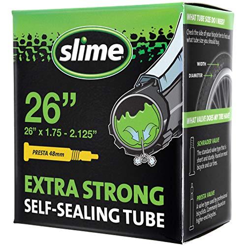Slime 30060 Cámara Interior de Bicicleta con Sellante de Pinchazos Slime, Sellado Autónomo, Prevenir y Reparar, Válvula Presta, 47/57 - 559mm (26x1,75-2,125)