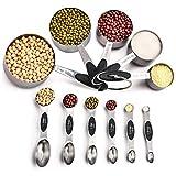 Juego de 11 cucharas medidoras magnéticas y vasos medidores de acero inoxidable, 5 tazas de medición y 6 tazas de doble cara apilables magnéticas, medidor de ingredientes secos y líquidos.
