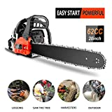 62CC Gas Chainsaws, 3.5HP Guide Board Chainsaw Gasoline Powered Handheld Cordless Petrol Gasoline Chain Saw, Total Length 35_Inch Chainsaw for Farm, Garden and Ranch (Red Black)