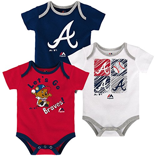 Atlanta Braves Baby/Infant Go Team 3 Piece Creeper Set 24 Months