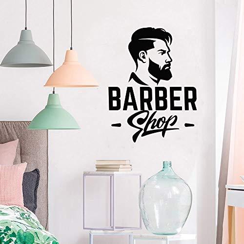 yaonuli Friseur Vinyl Wandtattoo Friseur Logo Logo männlicher Haarschnitt Aufkleber abnehmbare Schaufenster Logo 71x54cm