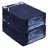 Kuber Industries Parachute Waterproof 2 Pieces Trouser Cover Quilted/Wardrobe Organizer (Blue) - CTKTC023214