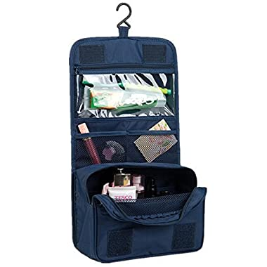 Itraveller Hanging Toiletry Bag- Travel Organizer Cosmetic Make up Bag case for Women Men Shaving Kit with Hanging Hook for vacation (Dark Blue)