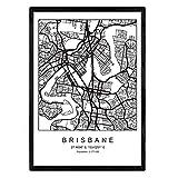 Nacnic Blatt Brisbane Stadtplan nordischen Stil schwarz und