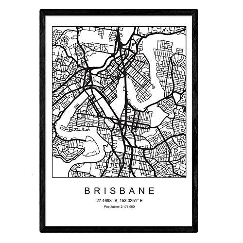Nacnic Blatt Brisbane Stadtplan nordischen Stil schwarz & weiß. A3 Größe Plakat Das Bedruckte Papier Keine 250 gr. Gemälde, Drucke & Poster für Wohnzimmer & Schlafzimmer