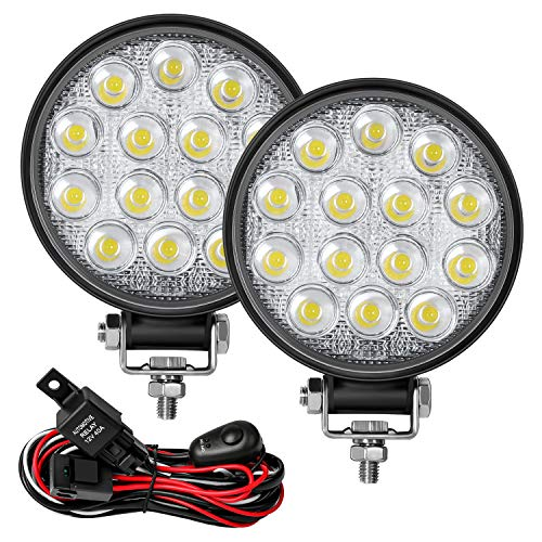 """Zmoon Led Round Light Bar 2PCS 4.5"""" 140w 14000LM with Led Wring Harness(10ft /2 Lead), Flood Light Off Road Fog Driving Light Bar for Jeep,SUV,Truck,ATV,Boat"""