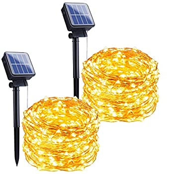 Outdoor Solar String Lights 2 Pack 33Feet 100 Led Solar Powered Fairy Lights with 8 Lighting Modes Waterproof Decoration Copper Wire Lights for Patio Yard Trees Christmas Wedding Party  Warm White