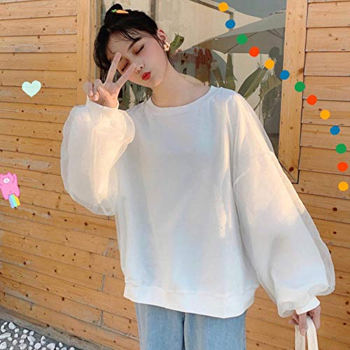 MU-PPX Sweat Femmes Streetwear Mesh Cover Patchwork Hoodie Puff Sleeves Girls Candy Color Solid Top, White, XXL
