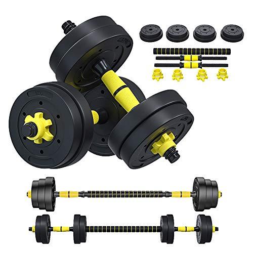 YShop 2 in 1 Kurzhantel/Langhantel Verstellbares Gewicht Hantel Set Herren Home Fitness Übung Muskel Ausrüstung Rutschfeste Sicherheitsgurt Verbindungsstange als Langhantel 10kg