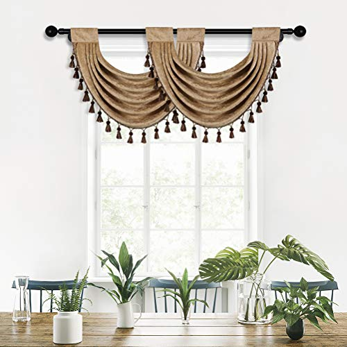 """Thick Chenille Waterfall Swag Valances for Living Room Valance Curtains for Kitchen,Pack of 2 (Coffee, 30"""" W x 22"""" L)"""