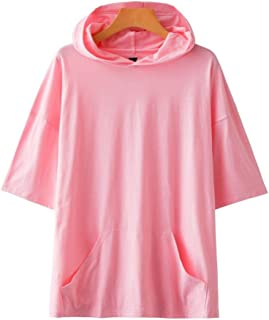 Youth Solid Color Blank Hooded Short Sleeve Summer Casual Wild Loose Large Size T-Shirt