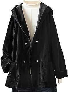 E-Scenery Plus Size Corduroy Coat Women Vintage Hooded Pockets Long Sleeves Jacket