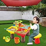 Kids Sand Water Tables, 2-in-1 Sandbox Playroom, Water Table,Summer Beach Activity Table, Outdoor Toys for Kid (Shipped from US, Multicolour)