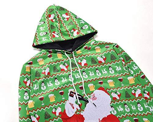 WHFLLDH groene hoodie mannen dragen dames 3D Print trui Unisex sneeuwvlok zak lelijke trui hoodie top