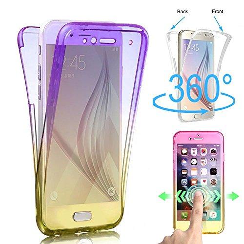 Shinyzone 360 Grad Ganzkörper Stoßfest Hülle für Samsung Galaxy S8, Vorne und Hinten klar 2 Stück Weich TPU Silikon Hülle,Ultra Dünn Kratzfest Schutzhülle,Lila Gelber Farbverlauf