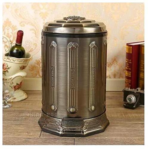 CHIXIANG küchenbehälter weiß Edelstahl Metall Mülleimer Abfallbehälter mit Fußpedal Mülleimer für Wohnkultur Eimer Müll-Kupferfarbe_10L