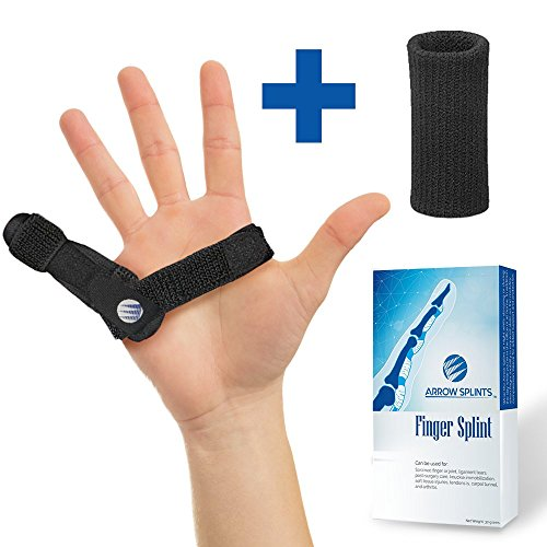 Arrow Splints Mallet Finger Splint | Trigger Finger Brace fits Pinky Finger, Index, Middle, Ring, & Thumb Arthritis Pain Relief, Straightening, Broken Finger Support, Knuckle Immobilizer +BONUS Sleeve