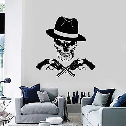 Doodskop sticker gangster pistool hoed maffia vinyl sticker voor ramen slaapkamer huisdecoratie 57 x 58 cm