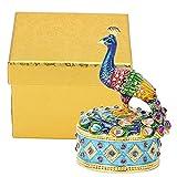 Faceuer Caja de joyería de Pavo Real, Caja de Almacenamiento de joyería Caja de estatuilla de Pavo Real Caja de joyería con bisagras Adorno de decoración de aleación de Zine para Oficina para el