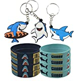 Shark Party Favors Supplies Decorations with 24 Pack Shark Keychains Key Ring and 24 Pack Shark Under the Sea Rubber Wristbands Bracelet for Kids Birthday Parties