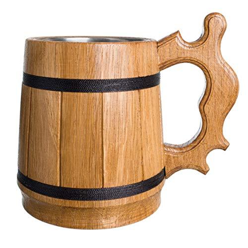 Handmade Beer Mug Oak Wood 0.6L 20oz Stainless Steel Cup Gift Natural Eco-Friendly Retro Beige