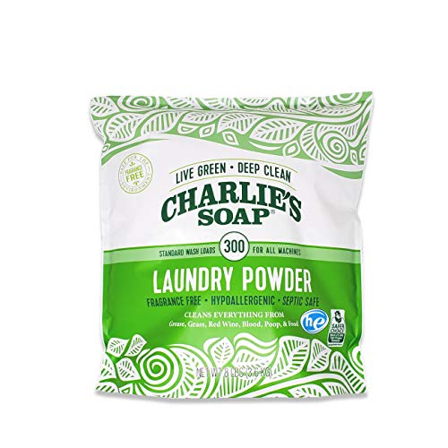 Product Image of the Charlie's Soap Laundry Powder (300 Loads, 1 Pack) Fragrance Free Hypoallergenic Deep Cleaning Washing Powder Detergent – Biodegradable Laundry Detergent That Is Eco-Friendly, Safe, and Effective…