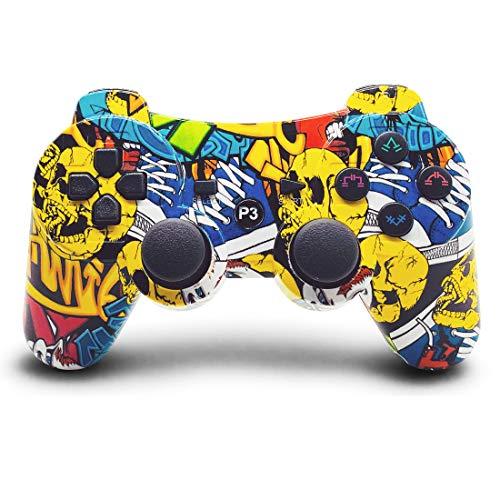Lioeo Mandos PS3 Inalambricos, Mando de PS3 Inalámbrico Bluetooth Gamepad de Doble Vibración Six-Axis para Playstation 3 / PC (Pintada)