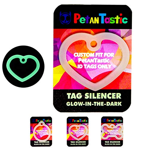 PetANTastic Dog Tag Silencers Dog or cat tag only, Glow in The Dark Silencer to Quiet Noisy Pet Tags
