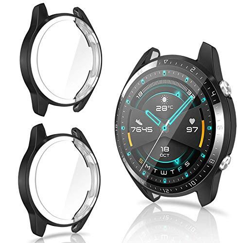 CAVN Hülle Kompatibel mit Huawei Watch GT 2 46mm Schutzhülle Schutzfolie [2-Stück], (Nicht für GT 2 Pro und GT) Flexibles TPU Vollschutz Bildschirmschutzfolie Kratzfest Bildschirmschutz Schutz Hülle Gehäuse