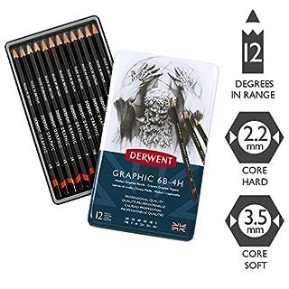 Derwent Graphic Drawing Pencils, Medium, Metal Tin, 12 Count (34214)