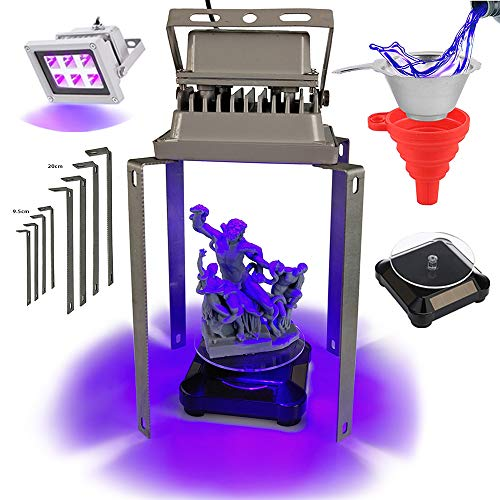 UV Curing Light Station Upgrade Kit for Resin 3D Printers with 405nm High Powered 60w Output Effect UV Light, Automatic Solar Powered Display Stand, Mountable Brackets and Resin Filter with Funnel