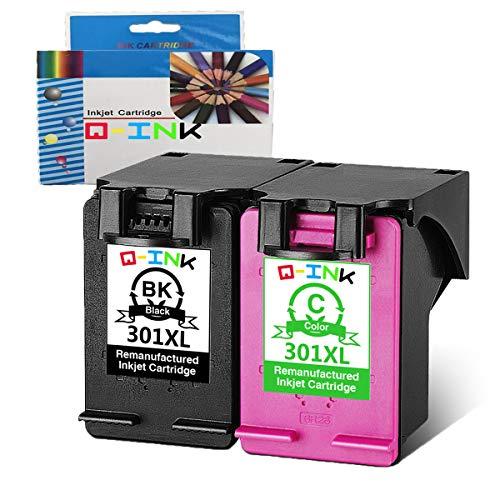 QINK Wiederaufbereitete Tintenpatrone für HP 301XL Schwarz Farbe CH563EE CH564EE für Deskjet 2544 1510 2510 1050 3055A 3050A 2547 Envy 4504 5530 HP Officejet 2620 4630 druckerpatronen 2PK
