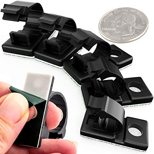 Pro-Grade, Adhesive-Backed Cable Clamps Combo Pack of 100. Multi-Size Set of 20x 4, 6, 8, 10 and 12 mm Black Clips For Wire Management and Cord Organization. Tools-Free Install For Home Or Office.