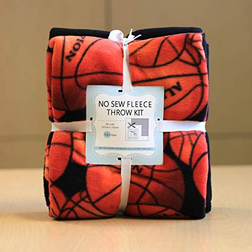 Basketball No-Sew Throw Fleece Fabric Kit (72x60)