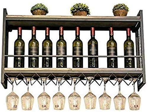 Estantes para vino Almacenamiento de metal Soporte para vino Almacenamiento para vino - Estante para vino montado en la pared, Estante para copas de vino, Metal + Madera maciza-80 * 20 * 55cm