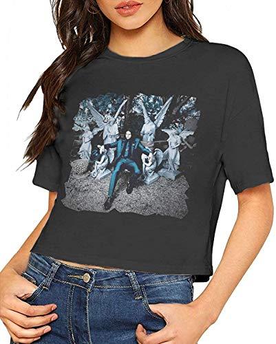 Jack White Lazaretto Shirts Navel Women T-Shirt Bare Midriff Crop Top Tee Black,X-Large