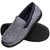 Hanes Men's Slippers House Shoes Moccasin Comfort Memory Foam Indoor Outdoor Fresh IQ, Navy, MD