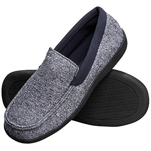 Hanes Men's Slippers House Shoes Moccasin Comfort Memory Foam Indoor Outdoor Fresh IQ, Navy, Medium