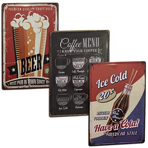 Chapas Vintage Bar [ con Relieve y Autocolgables ] Set de 3 Placas/Carteles de Metal Retro para decoración de Cocina, Comedor, Salón, Cafetería, Bar, Restaurante, Cervecería. Medidas 20 x 30.