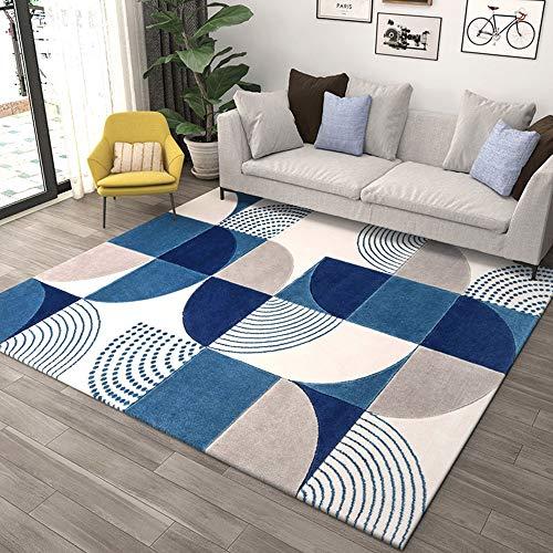 Alfombra moderna para salón de diseño sencillo con motivos geométricos de Ikea para decoración de salón, dormitorio, exterior, pelo corto, alfombra para dormitorio, color azul, tamaño: 180 x 250 cm