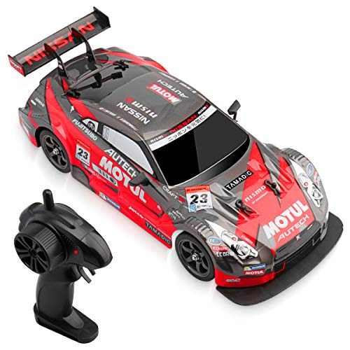 RC Drift Car Super GT Sport Racing Car 1:16 4WD Hight Speed Drift Vehicle Kids Boys Adults Gift with 2.4G 4CH Remote Control, 2 Pack Batterys and 2 Pack Tires Roadblocks (Red)