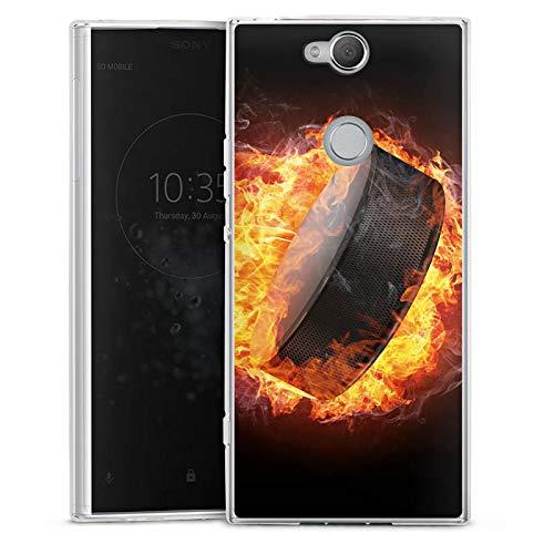 DeinDesign Silikon Hülle kompatibel mit Sony Xperia XA2 Plus Case transparent Handyhülle Eishockey Feuer