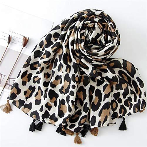 Weryffe - Bufanda para Mujer, diseño de Leopardo, con Borla, Bufanda de Invierno descapotable