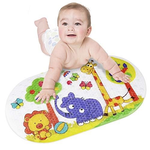 Idefair Anti-Rutsch Badematte, Baby Badematte Kindermatte Extralange Duschmatte mit Saugnäpfen für die Badewanne im Bad Maschinenwaschbar beständig Mehltau Schimmelbeständig PVC, 39 x 69cm