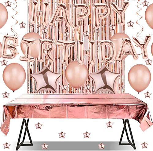 Layal Design Happy Birthday Party Deko Set | Rosegold | Geburtstag Geburtstagsdeko | Girlande Luftballons Folienballon Tischdecke