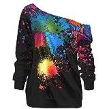 TWIFER Damen Lose Rainbow Off Shoulder Pullover TWIFER Bluse Sweatshirt Langarm Shirts