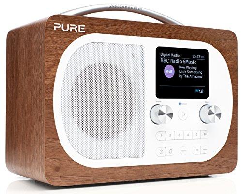 Pure Evoke H4 Portable FM DAB+ DAB Digital Radio - DAB Radio with Bluetooth Music Streaming, Alarms, Touch-Sensitive Snooze Handle and Full Colour Display, Walnut
