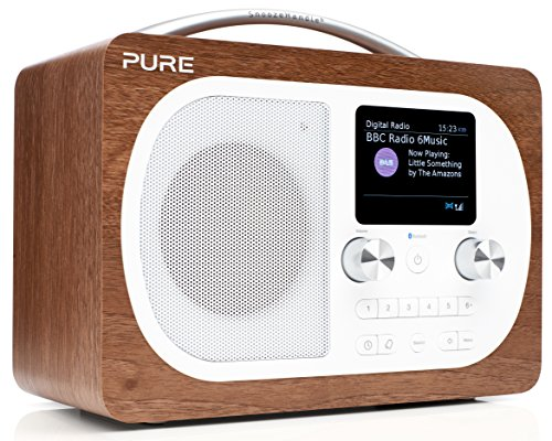 Pure Evoke H4 Digitalradio (DAB+, DAB, UKW, Bluetooth, Sleep-Timer, Weckfunktion, Schlummerfunktion, Countdown-Timer, 50 h Akkulaufzeit, Streaming, Farbdisplay, AUX), Walnuss